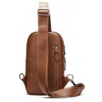 Коричневая кожаная сумка слинг Tiding Bag M7019C - Фото № 101