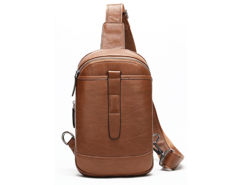 Коричневая кожаная сумка слинг Tiding Bag M7019C - Фото № 1