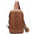 Коричневая кожаная сумка слинг Tiding Bag M7019C - Фото № 100