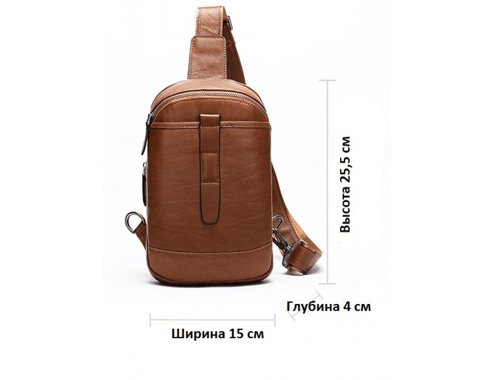 Коричневая кожаная сумка слинг Tiding Bag M7019C - Фото № 3