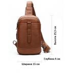 Коричневая кожаная сумка слинг Tiding Bag M7019C - Фото № 102