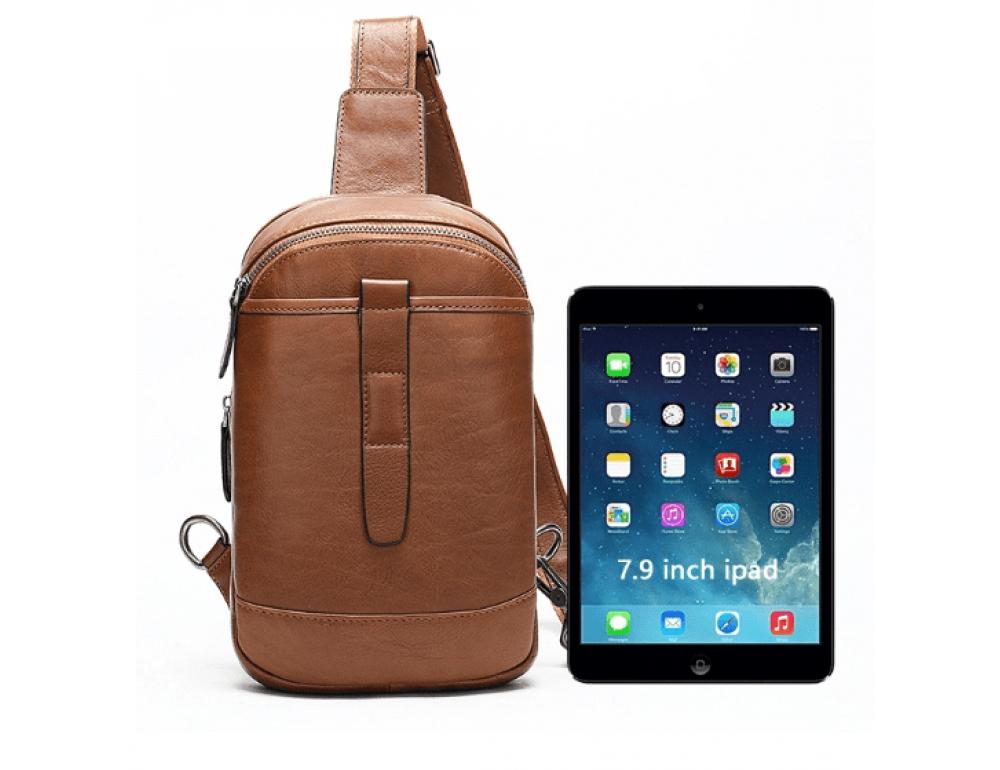 Коричневая кожаная сумка слинг Tiding Bag M7019C - Фото № 4