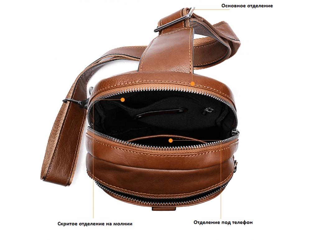 Коричневая кожаная сумка слинг Tiding Bag M7019C - Фото № 5