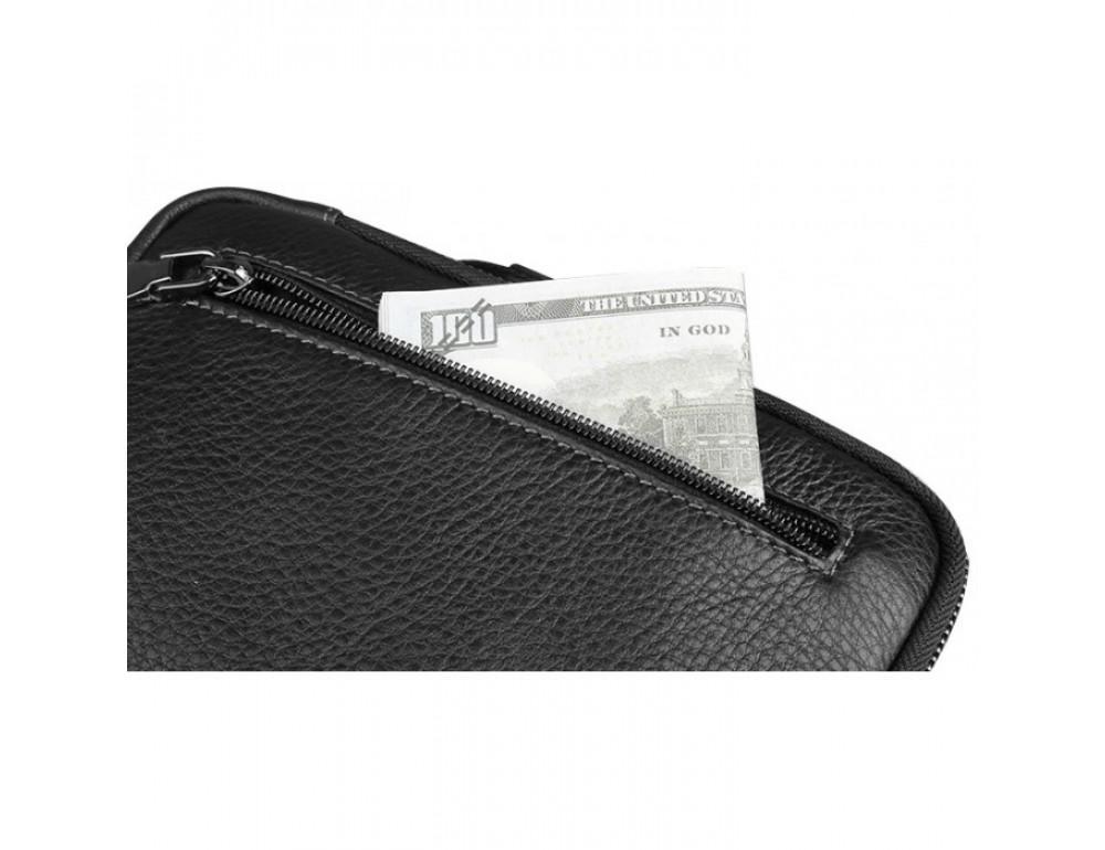 Мужской кожаный мини мессенджер TIDING BAG M711-1A чёрный - Фото № 2