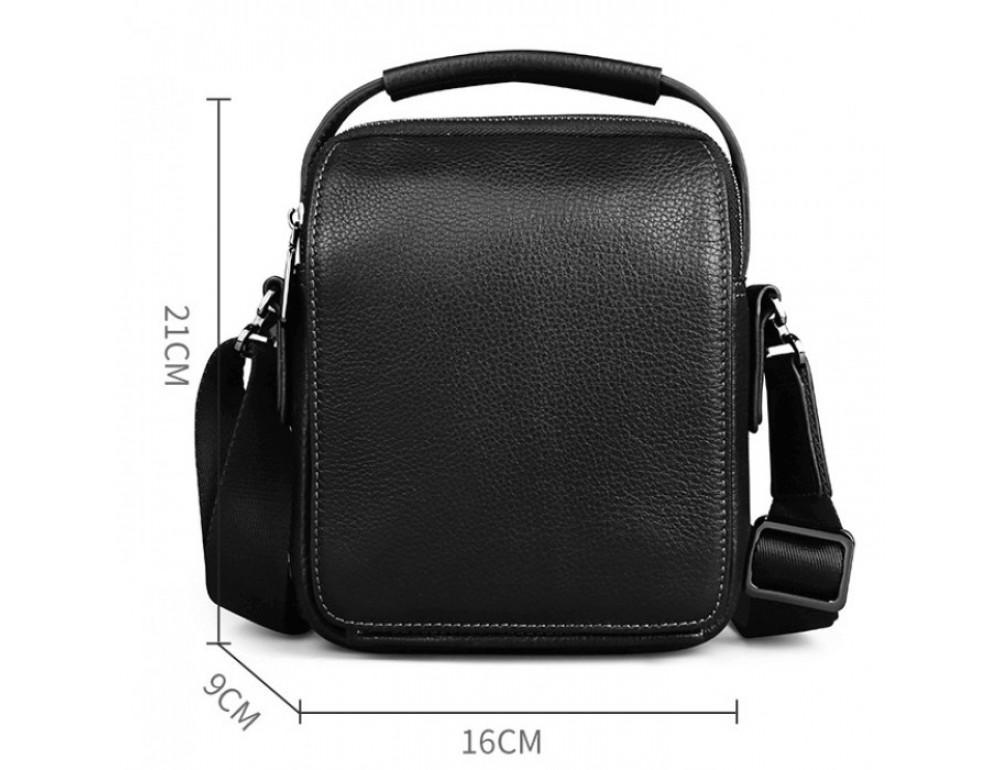 Мужской кожаный мини мессенджер TIDING BAG M711-1A чёрный - Фото № 3