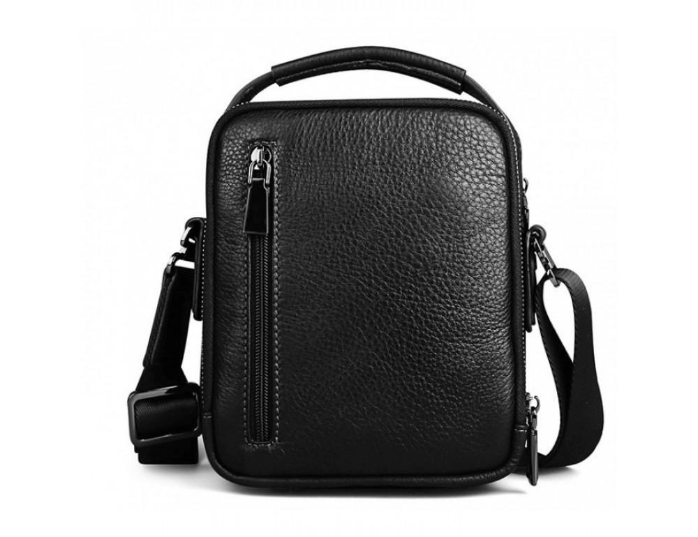 Мужской кожаный мини мессенджер TIDING BAG M711-1A чёрный - Фото № 4