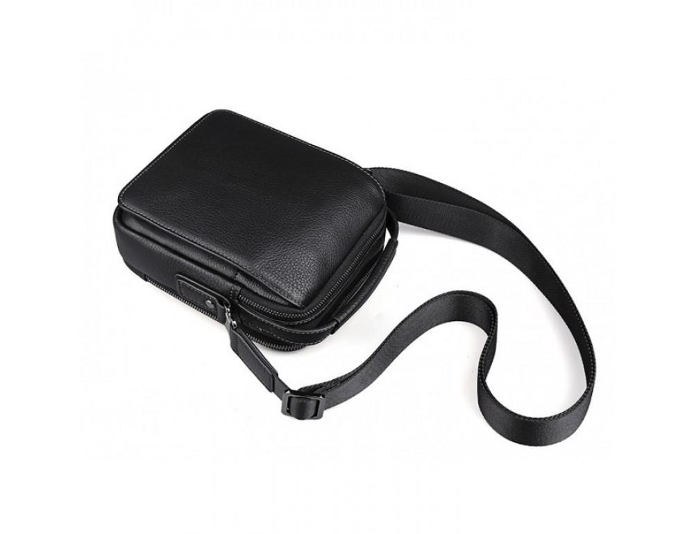 Мужской кожаный мини мессенджер TIDING BAG M711-1A чёрный - Фото № 6