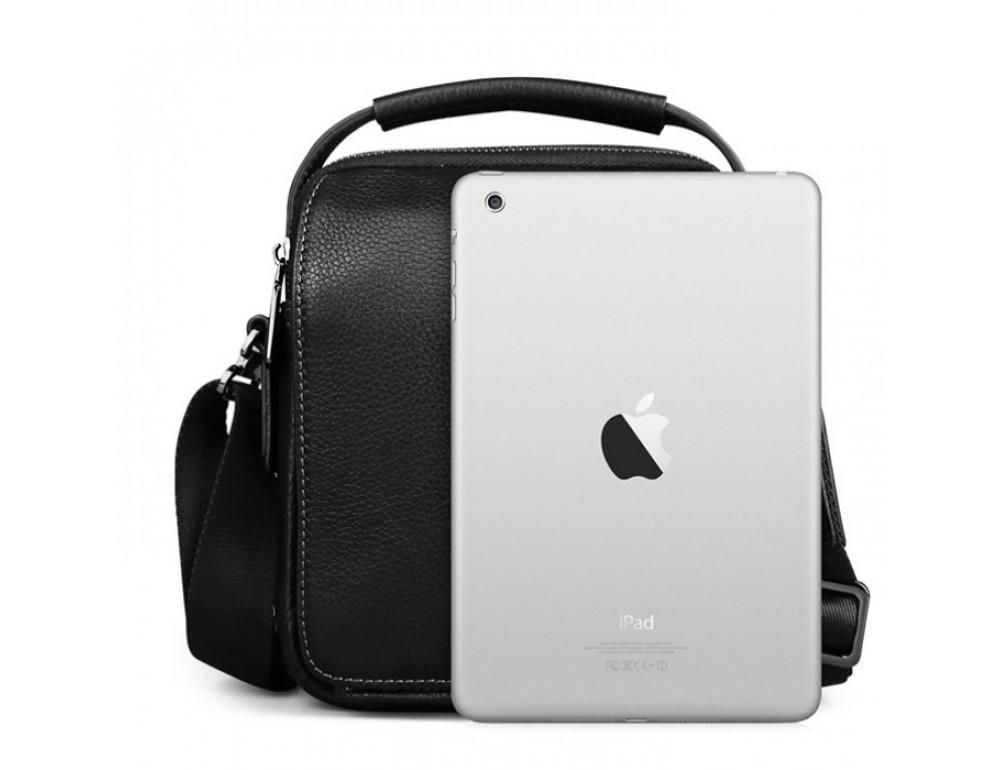 Мужской кожаный мини мессенджер TIDING BAG M711-1A чёрный - Фото № 7