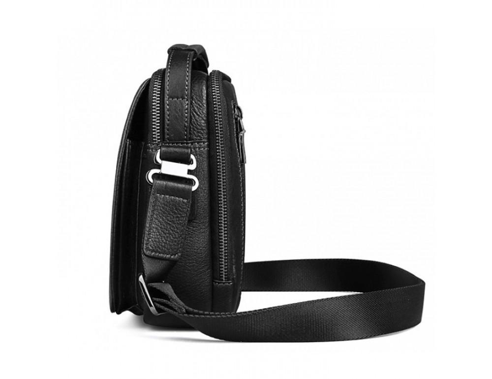 Мужской кожаный мини мессенджер TIDING BAG M711-1A чёрный - Фото № 8