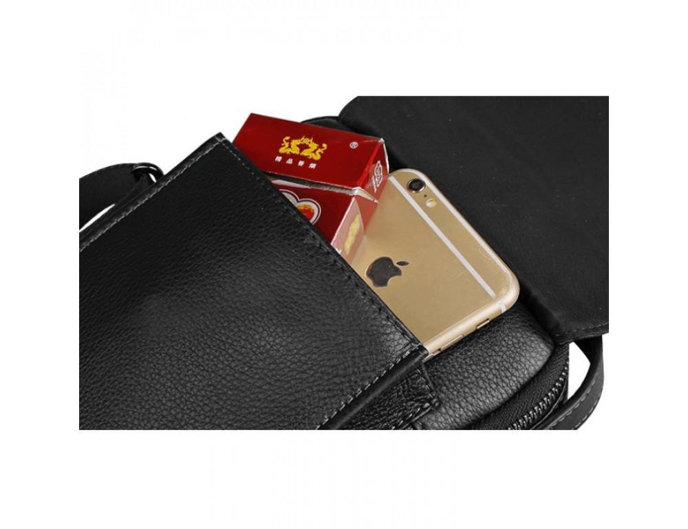 Мужской кожаный мини мессенджер TIDING BAG M711-1A чёрный - Фото № 9