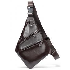 Коричневая кожаная сумка на грудь Tiding Bag M7323C