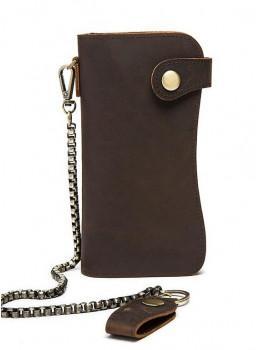 Тёмно-коричневый кожаный кошелёк Tiding Bag M8810B