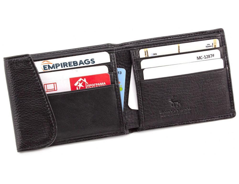 Чёрный кожаный мужской портмоне маленького размера Marco Coverna MC-1287 black - Фото № 2
