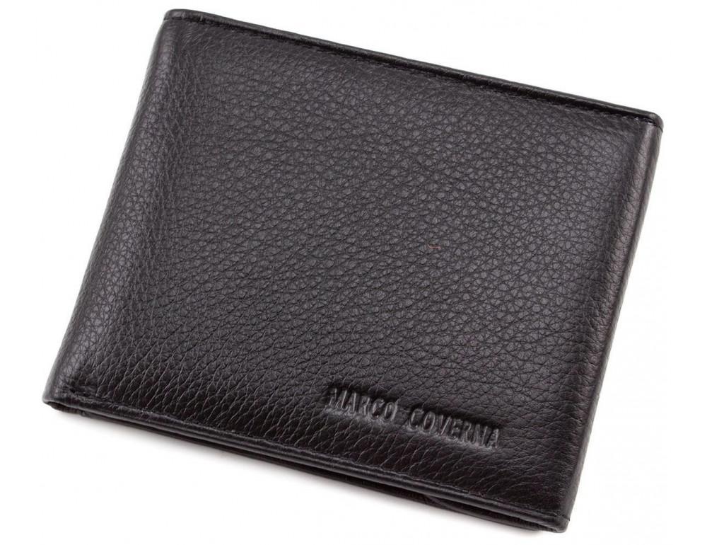 Чёрный кожаный мужской портмоне маленького размера Marco Coverna MC-1287 black - Фото № 1
