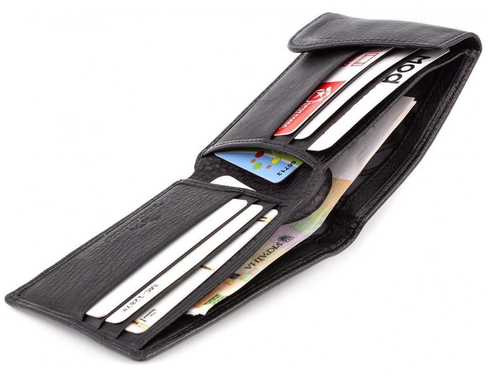 Чёрный кожаный мужской портмоне маленького размера Marco Coverna MC-1287 black - Фото № 3