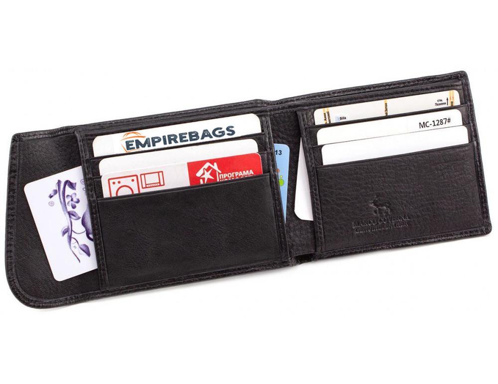 Чёрный кожаный мужской портмоне маленького размера Marco Coverna MC-1287 black - Фото № 4