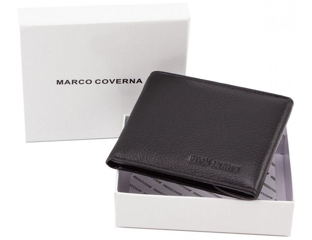 Чёрный кожаный мужской портмоне маленького размера Marco Coverna MC-1287 black - Фото № 6