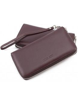 Ежевичный кожаный кошелёк на молнии Marco Coverna mc7003-5