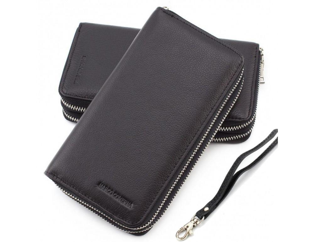 Чёрный кожаный клатч Marco Coverna MC801B-1A - Фото № 1