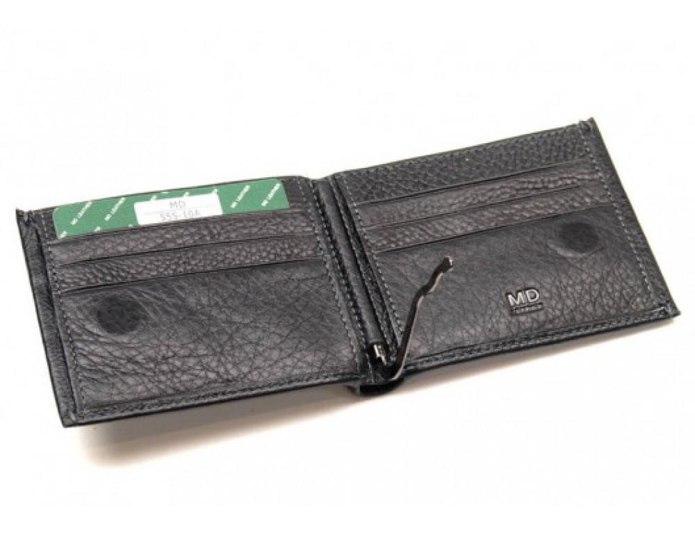 Чёрный кожаный зажим-портмоне MD Leather MD 555-10А - Фото № 3