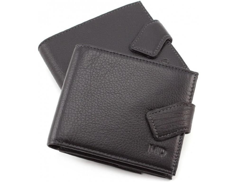 Чёрный мужской кошелёк на защелке MD Leather MD 122-A - Фото № 1