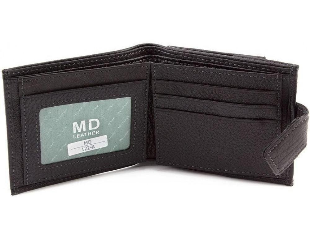 Чёрный мужской кошелёк на защелке MD Leather MD 122-A - Фото № 2