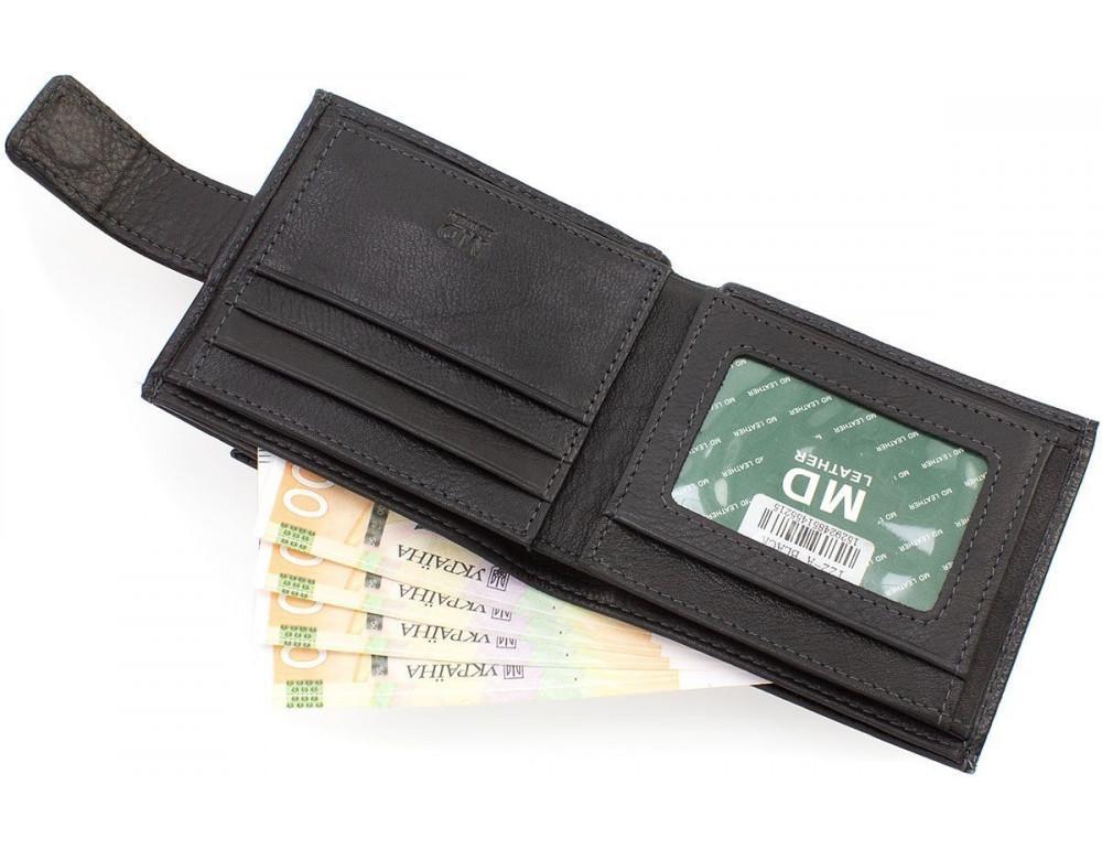 Чёрный мужской кошелёк на защелке MD Leather MD 122-A - Фото № 7