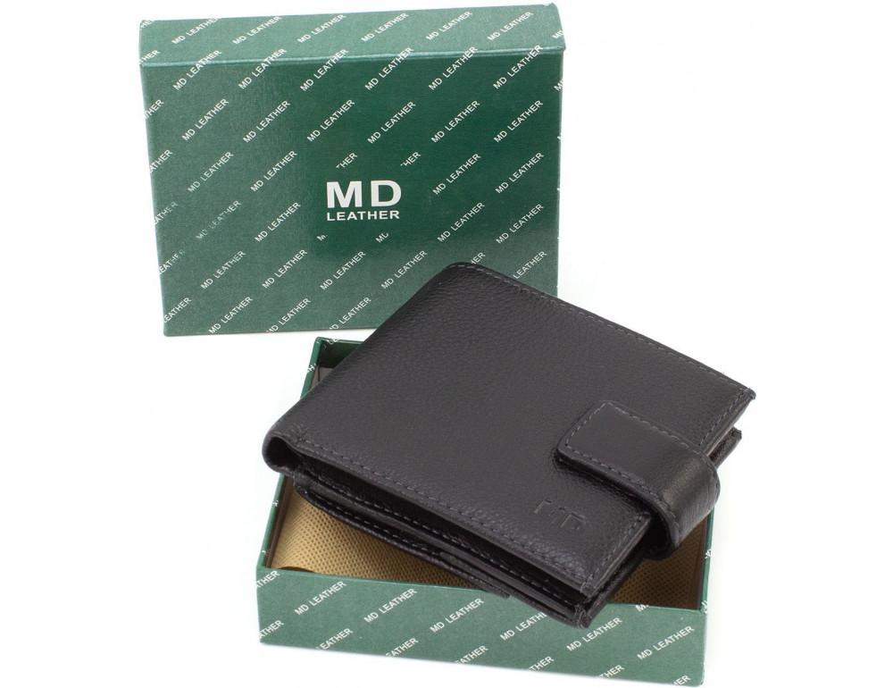 Чёрный мужской кошелёк на защелке MD Leather MD 122-A - Фото № 9