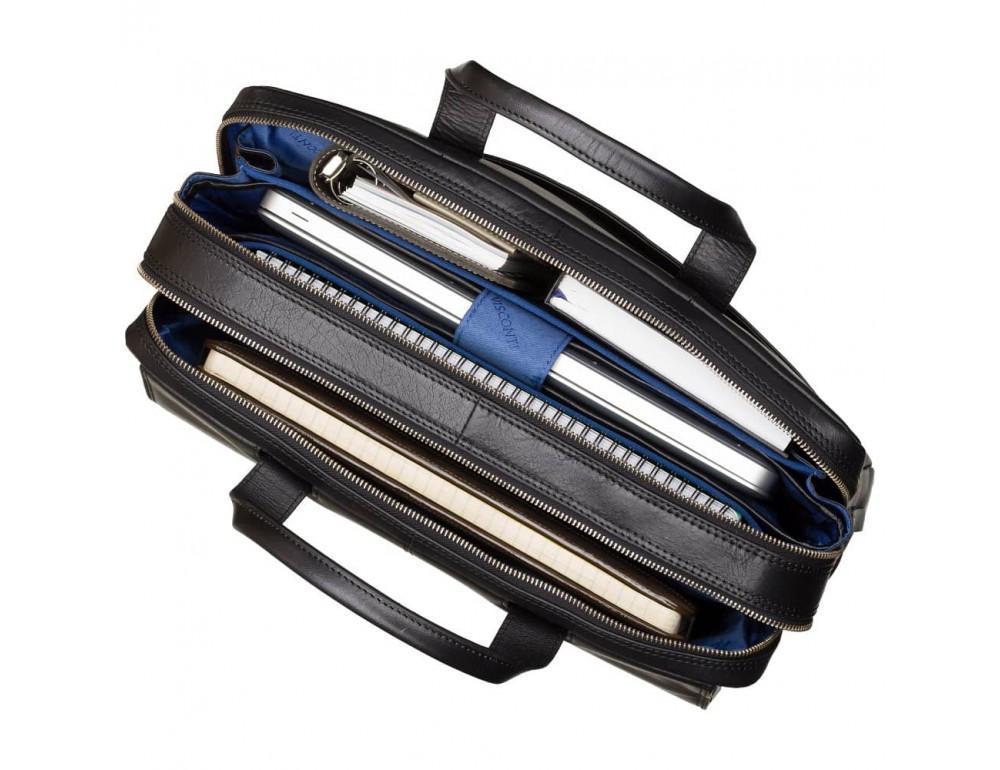 Чёрный кожаный портфель для мужчин Visconti ML24 BLK - Фото № 2