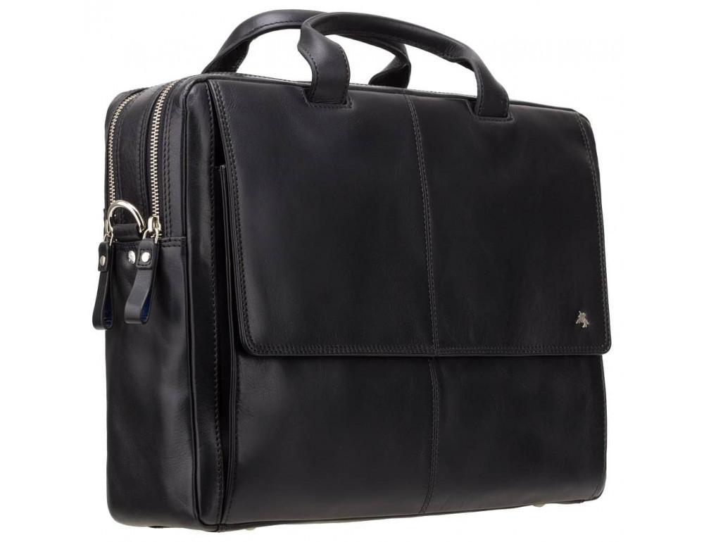 Чёрный кожаный портфель для мужчин Visconti ML24 BLK - Фото № 3