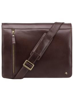 Коричневая кожаная сумка через плечо мужская Visconti ML23 BRN