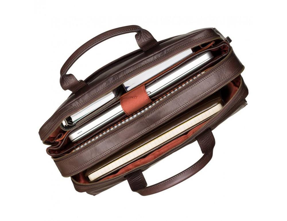 Коричневый кожаный портфель для мужчин Visconti ML24 BRN - Фото № 2