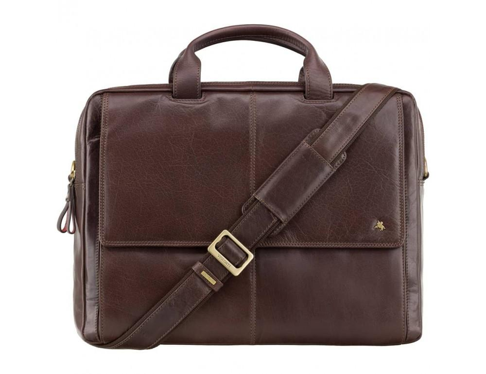 Коричневый кожаный портфель для мужчин Visconti ML24 BRN - Фото № 1