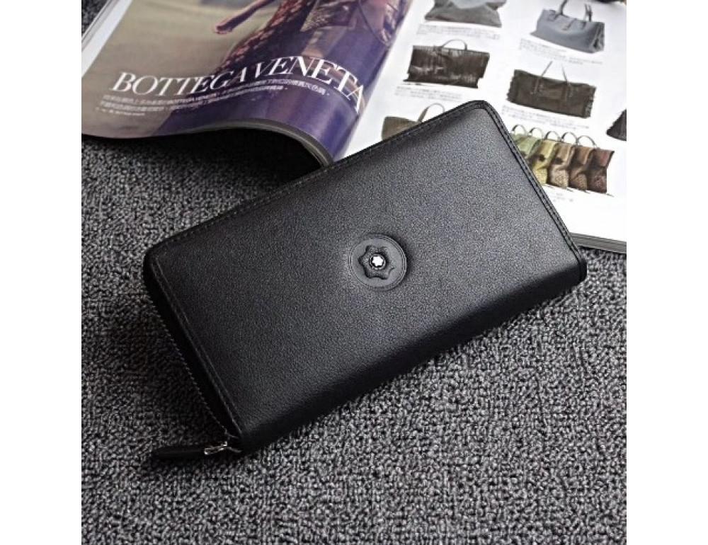 Чёрный кожаный клатч Motblanc MOQ-05