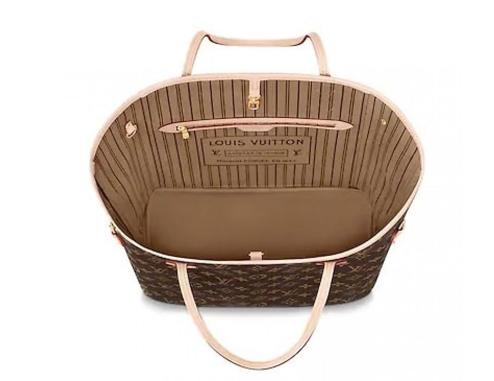 Женская кожаная сумка Louis Vuitton Neverfull GM коричневая - Фото № 2