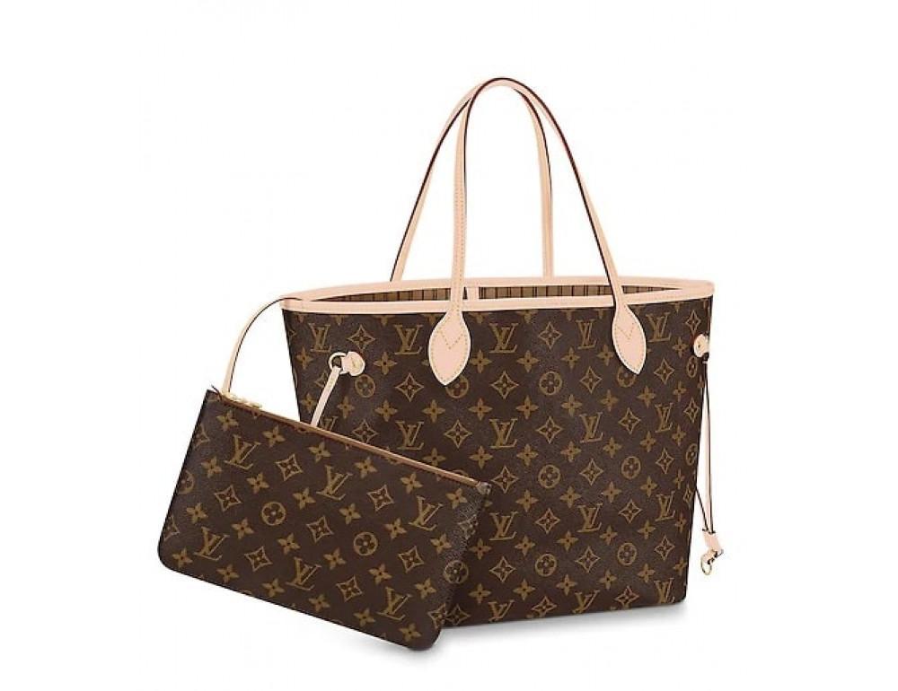 Жіноча шкіряна сумка Louis Vuitton Neverfull GM коричнева