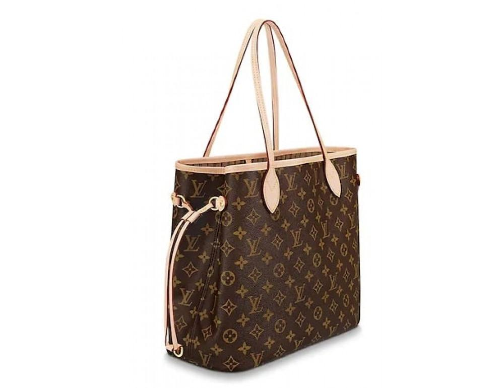 Женская кожаная сумка Louis Vuitton Neverfull GM коричневая - Фото № 3
