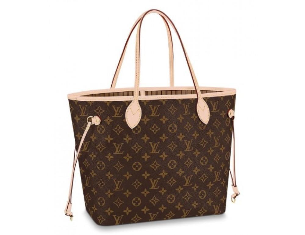 Женская кожаная сумка Louis Vuitton Neverfull GM коричневая - Фото № 4