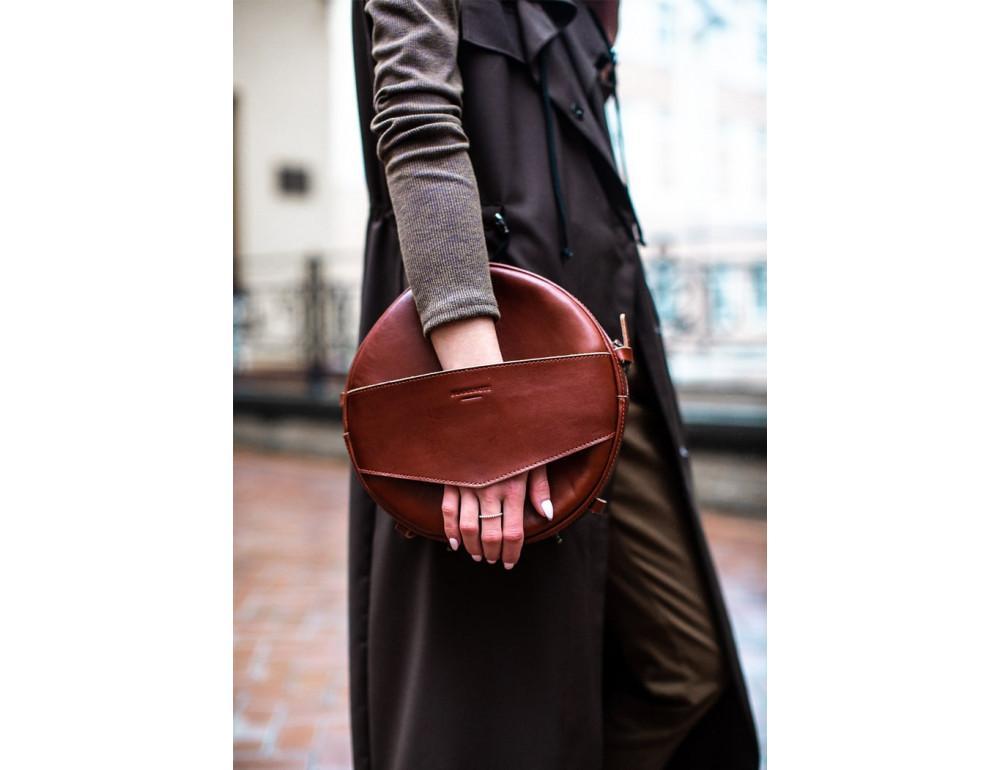Круглая сумка-рюкзак maxi blanknote BN-BAG-30-k Коньяк  - Фото № 2