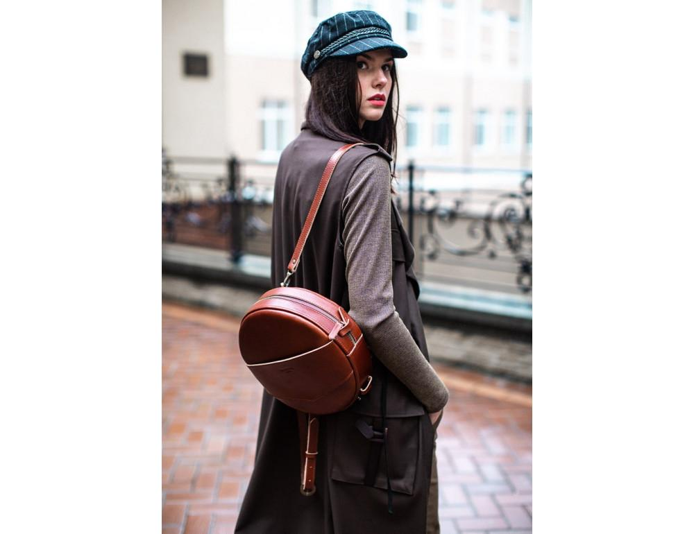 Круглая сумка-рюкзак maxi blanknote BN-BAG-30-k Коньяк  - Фото № 3