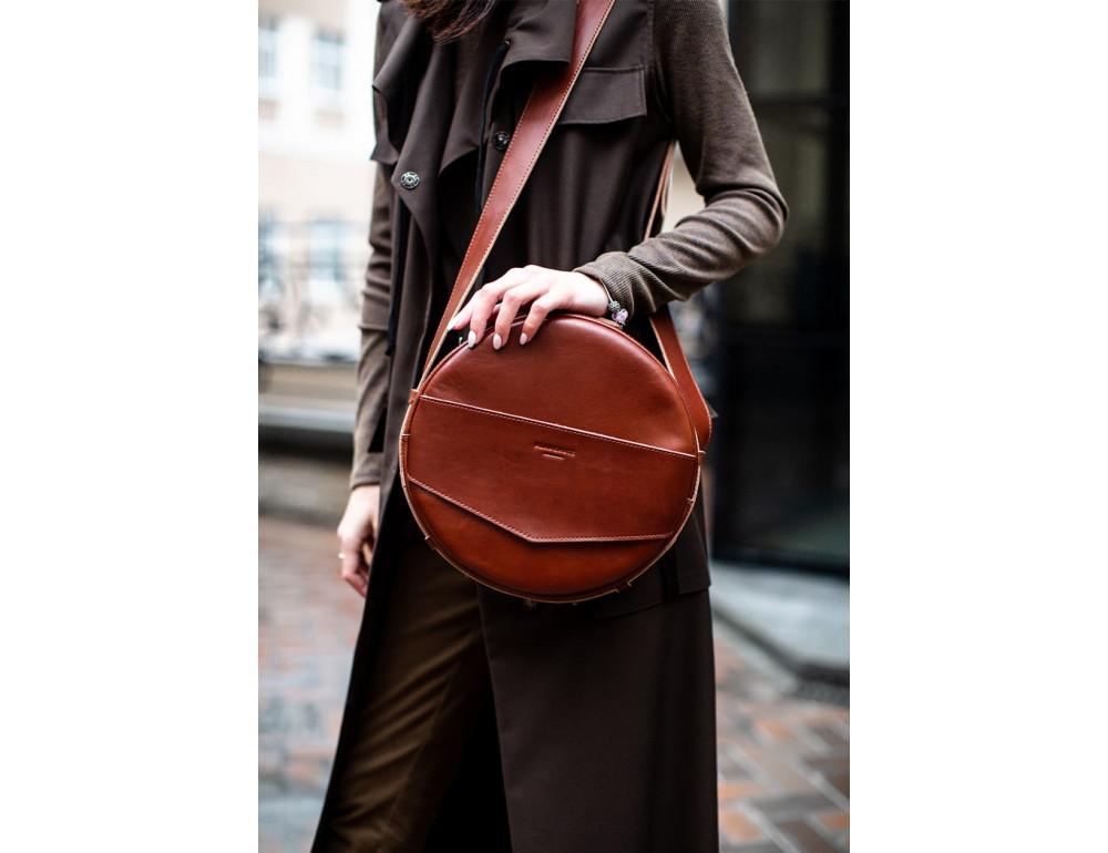 Круглая сумка-рюкзак maxi blanknote BN-BAG-30-k Коньяк  - Фото № 4