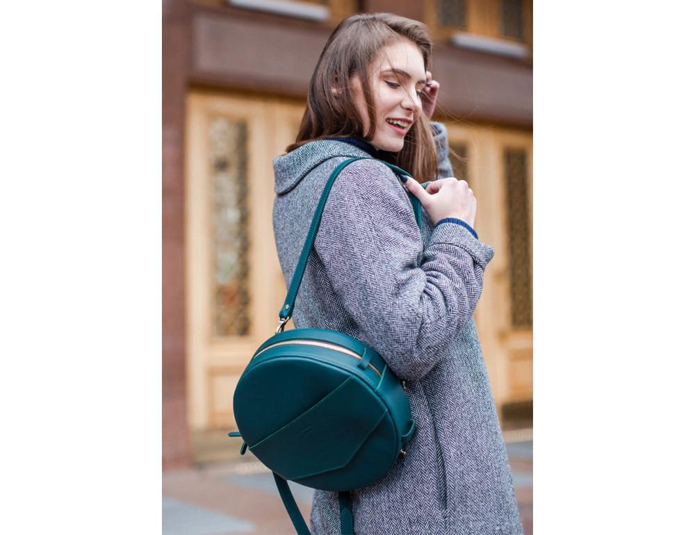 Круглая сумка-рюкзак maxi blanknote BN-BAG-30-malachite зелёный - Фото № 4