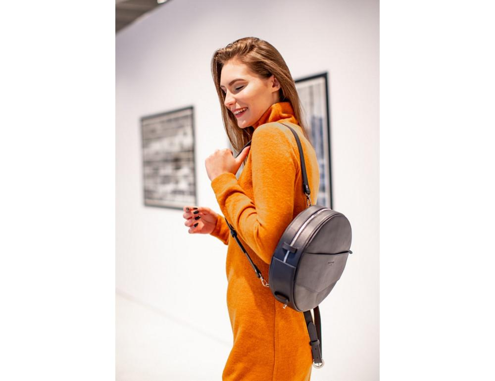 Круглая сумка-рюкзак maxi blanknote BN-BAG-30-navy-blue тёмно-синяя - Фото № 8