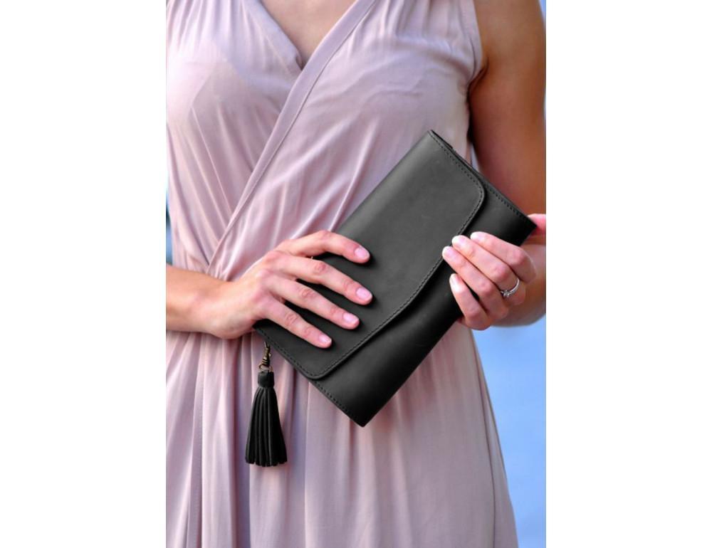 Кожаный клатч Элис blanknote BN-BAG-7-g графитовый - Фото № 6