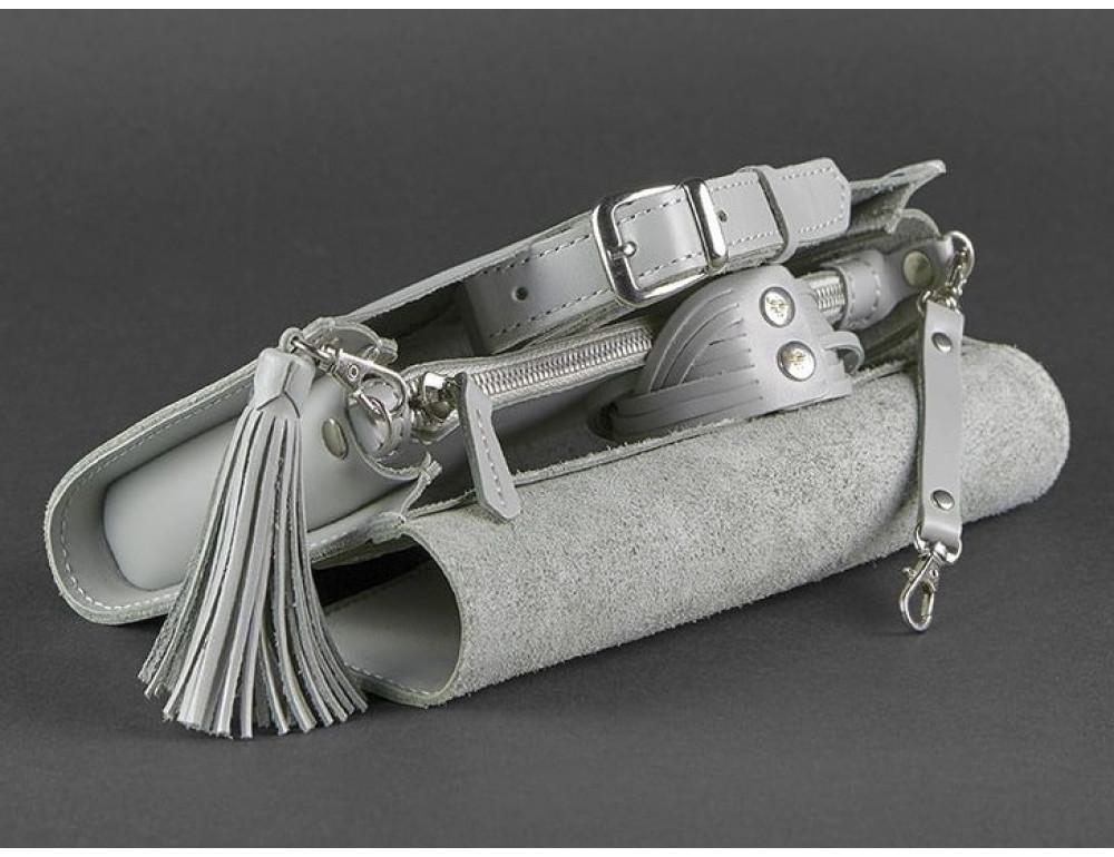 Кожаный клатч Элис blanknote BN-BAG-7-shadow серая - Фото № 4