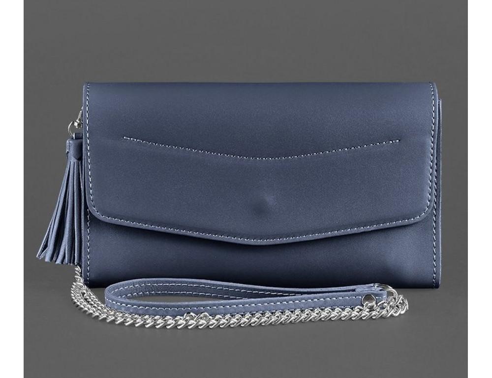 Кожаный клатч Элис blanknote BN-BAG-7-navy-blue тёмно-синий - Фото № 3