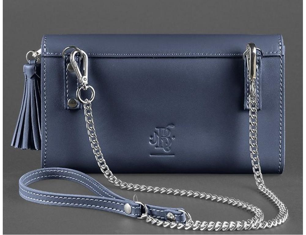 Кожаный клатч Элис blanknote BN-BAG-7-navy-blue тёмно-синий - Фото № 4