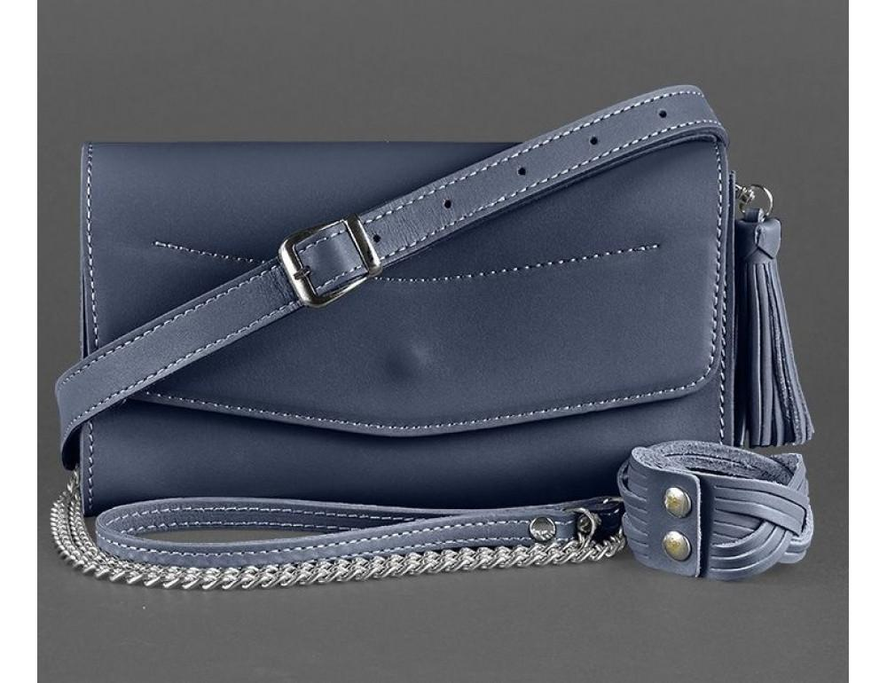Кожаный клатч Элис blanknote BN-BAG-7-navy-blue тёмно-синий - Фото № 5