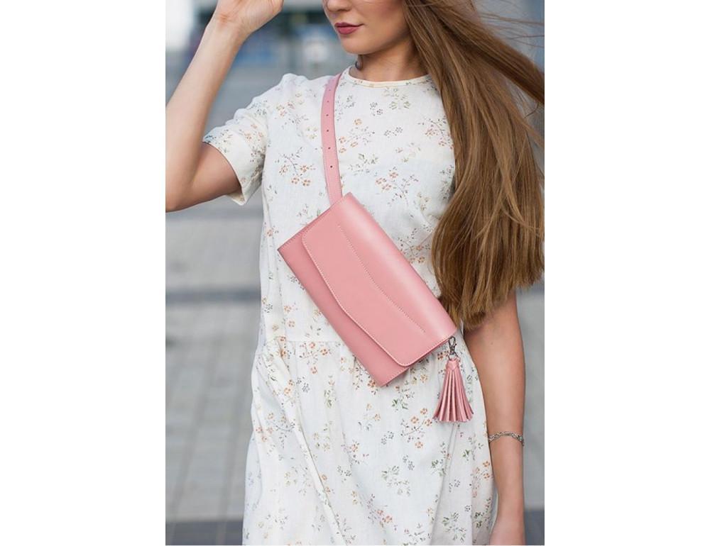 Кожаный клатч Элис blanknote BN-BAG-7-pink-peach пудровый - Фото № 2