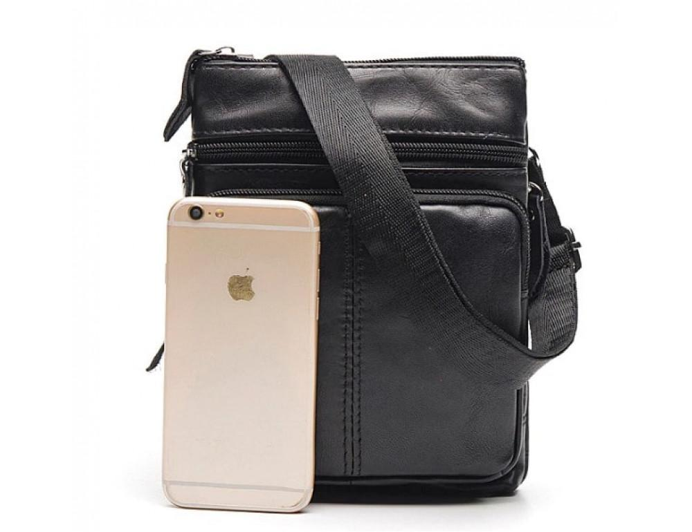 Мужская кожаная сумка-мессенджер Bexhill BX124A чёрная - Фото № 3